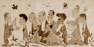Caricatura de los participantes en el Torneo de Ajedrez de Berga 1954