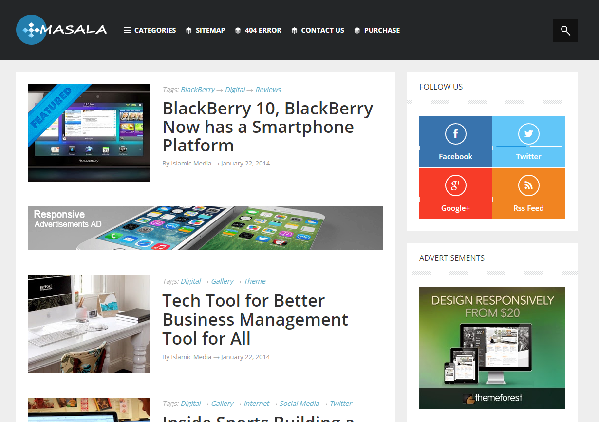 Masala v1.2 Responsive Multipurpose Blogger Template free Download ...