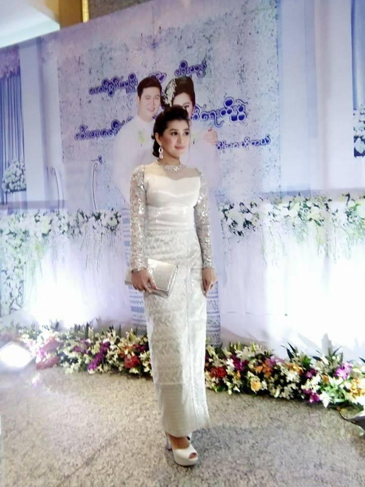 Eaindra Kyaw Zin In Myanmar Traditional Outfit To Attend Wedding