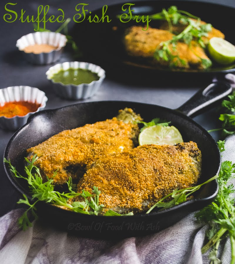 Bowl of food with ash stuffed fish fry recipe how to for Fish fry in my area