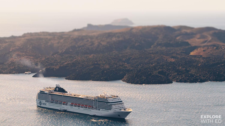 MSC Musica on an Eastern Mediterranean cruise in Santorini Greece