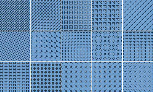 34 Pixel blue Patterns