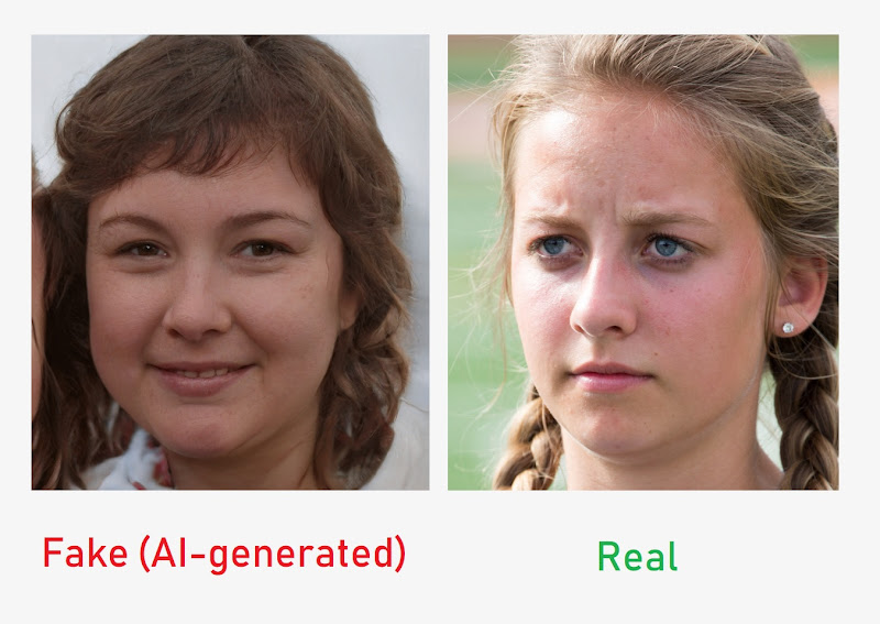 A pair of human faces, one fake, one real, compared by a website