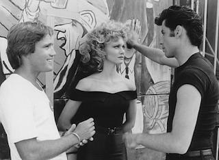 Travolta y Newton-John durante la filmación de Grease
