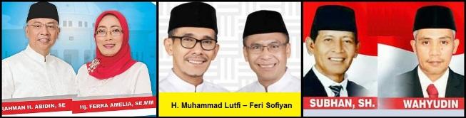 Tiga Paslon walikota dan wakil walikota Bima 2018