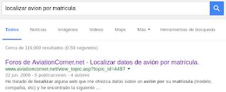 Google - localizar avión por matrícula