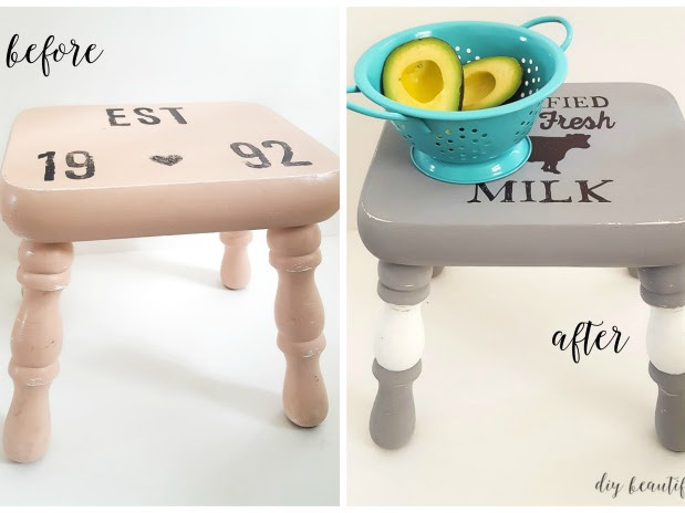 How to Update a Plain Stool with Farmhouse Style