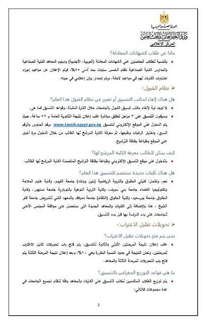 تنسيق الجامعات المصرية 2018  س و ج