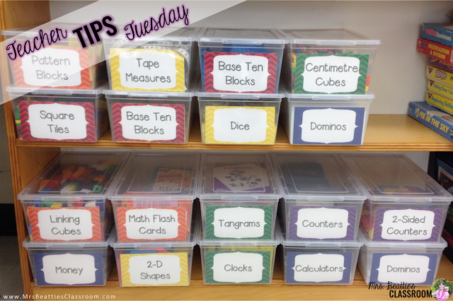 Inexpensive Math Manipulative Storage