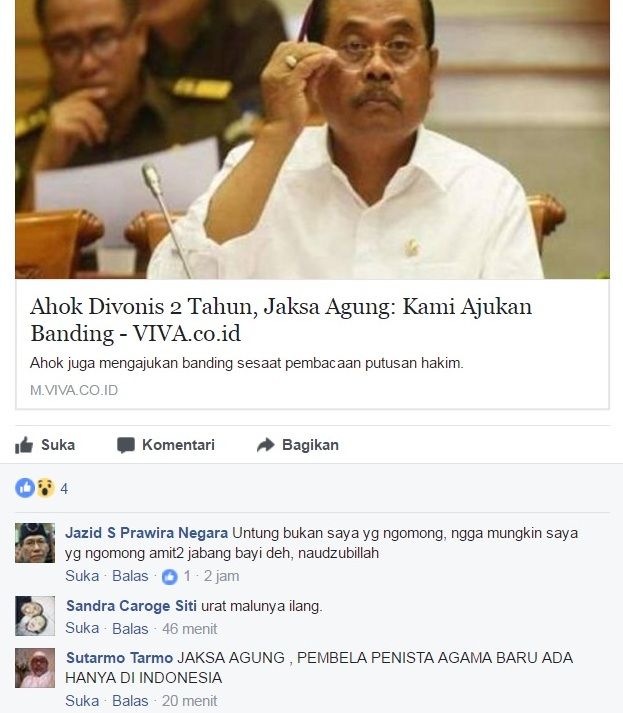 Netizen: Hanya Ada di Indonesia, Jaksa Agung Ajukan Banding dan Bela Penista Agama