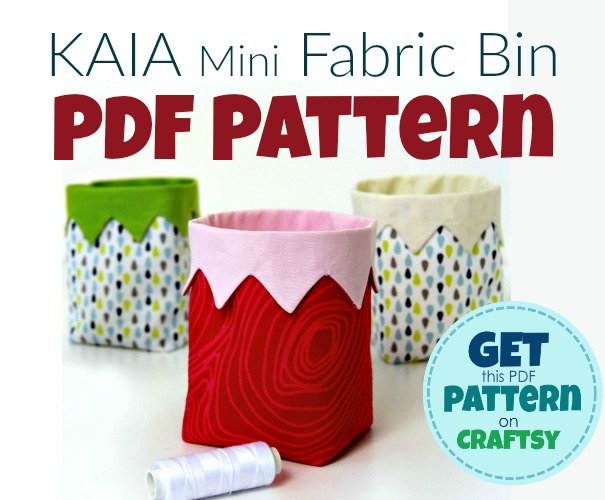 DIY Mini Fabric Bin - just the cutest little bin to sew! It's an easy beginner sewing project. Get your PDF pattern on Craftsy.