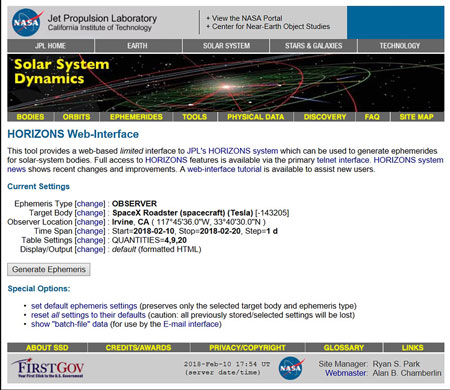 NASA Horizons Ephemeris Generation for Tesla Roadster (Source: https://ssd.jpl.nasa.gov/horizons.cgi#top)