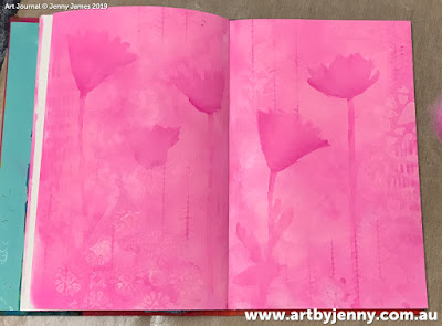 background of art journal page by Jenny James - golden hearts with pink and purple