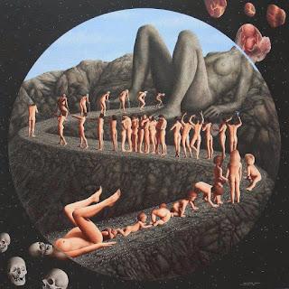 Un tableau montrant le cycle de la vie. La réincarnation commence par l'accouchement et le cycle finit par la mort