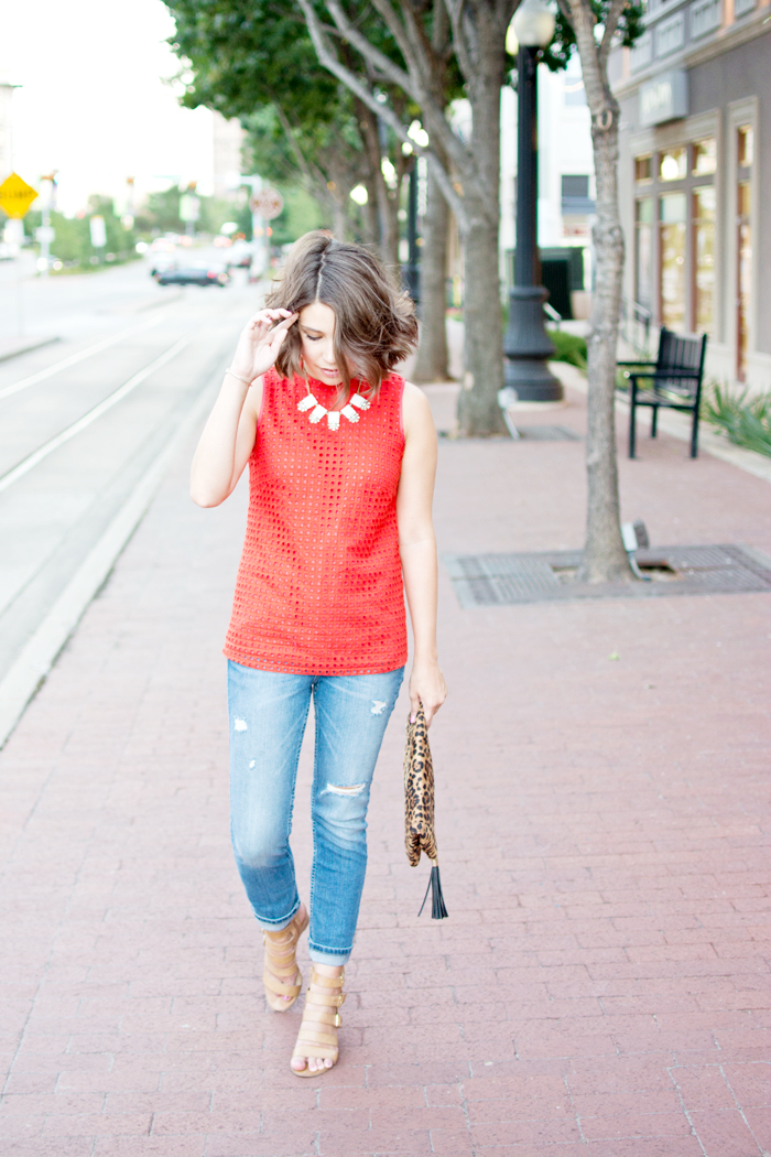 leopard clutch, cheetah clutch, jcrew top, summer outfit, casual summer outfit, coral and leopard print