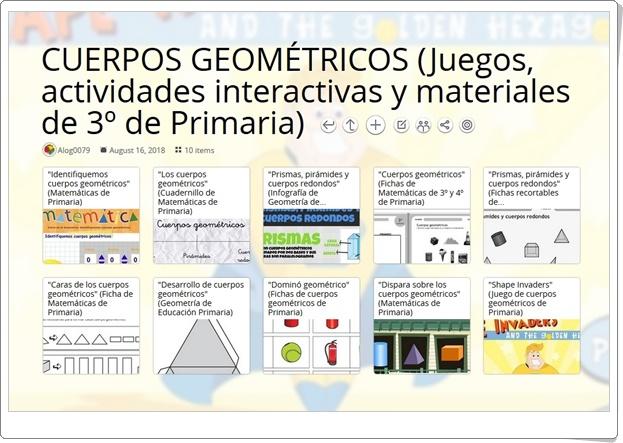 """""""10 Juegos, actividades interactivas y materiales para el estudio de los CUERPOS GEOMÉTRICOS en 3º de Primaria"""""""