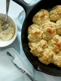 Cast Iron Skillet Biscuits with Honey Butter....this easy drop biscuit has crispy edges yet is tender and flaky in the middle. Serve with honey butter warm and straight out of the oven! (sweetandsavoryfood.com)