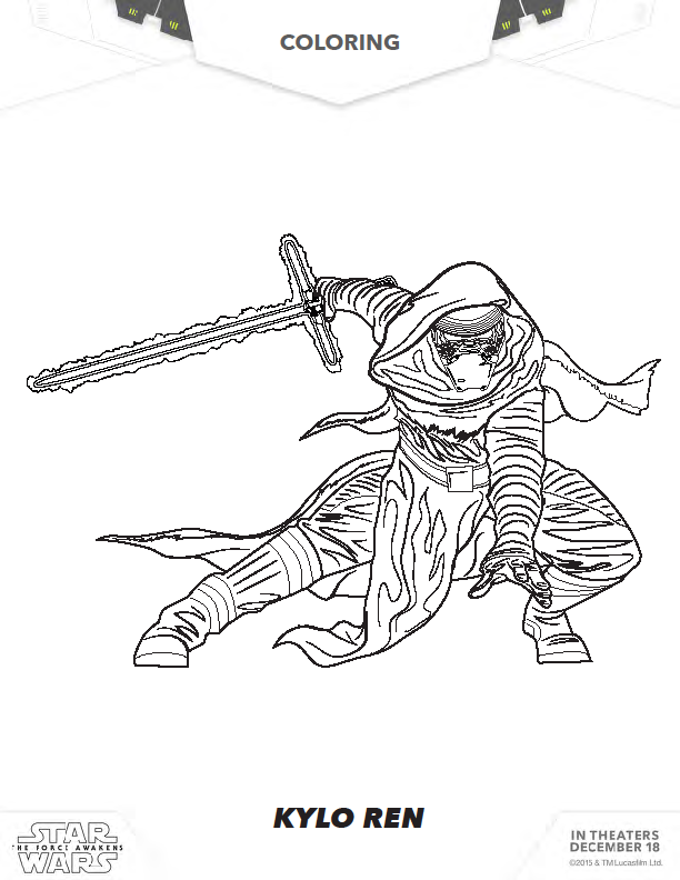 The art of random willy nillyness star wars the force for Kylo ren coloring page