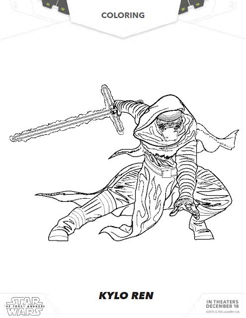 The force awakens kylo ren coloring sheet coloring pages for Kylo ren coloring page