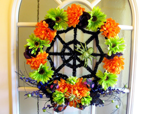 Floral Halloween wreath by Monica Curry