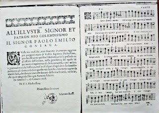 The opening pages to a Rossi score for a madrigal  played in Venice in 1628