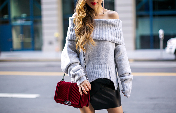 Grey off shoulder sweater, rebecca minkoff love crossbody bag, leather mini skirt, rebecca minkoff lauren faux leather over the knee boots, karen walker super duper sunglasses, holiday outfit ideas, velvet trends, san francisco style blog, san francisco street style