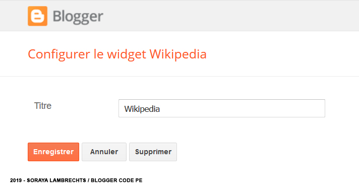 Le panneau de configuration du gadget Wikipedia