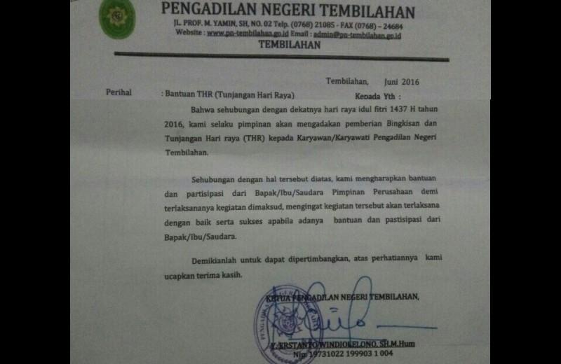 Surat permintaan THR dari Ketua PN Tembilahan ke pengusaha