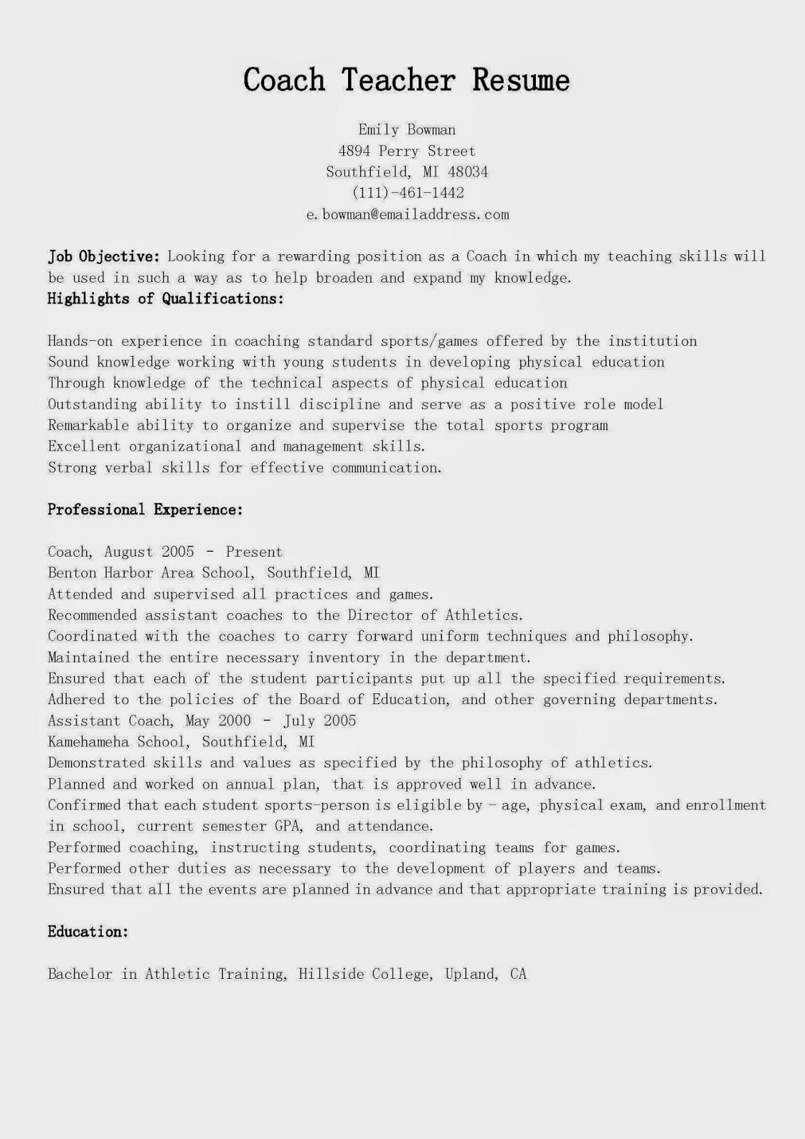 resume samples coach teacher resume sample