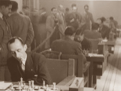 Otro aspecto de la sala de juego del XIX Campeonato Individual de Cataluña 1950/51