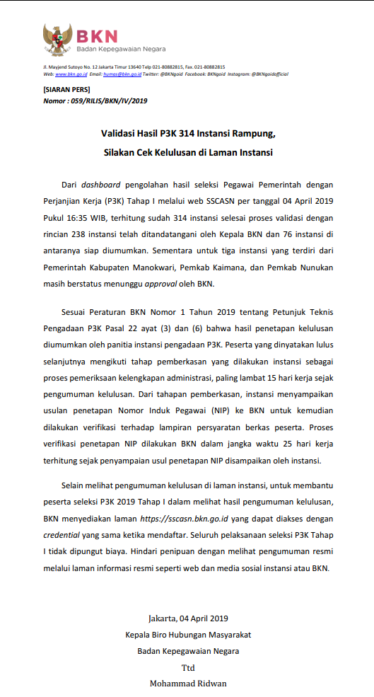 Pengumuman Hasil Tes Seleksi PPPK (P3K) tahun 2019