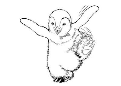 Пингвин топает раскраска