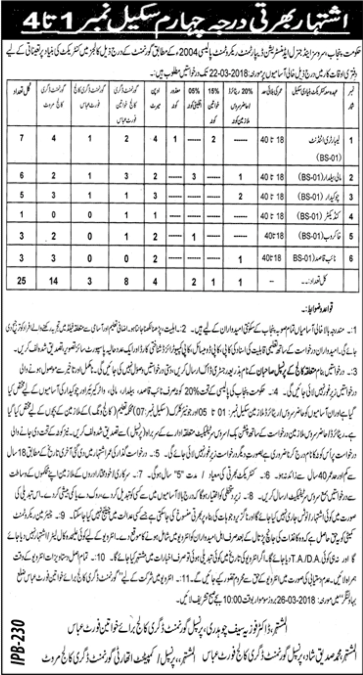 Jobs In Services and General Administration Department 2018 for 25 Vacancies