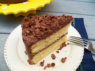 A Slice Of Make-Ahead-Cake-Batter Cake with Fudgy Stove Top Frosting