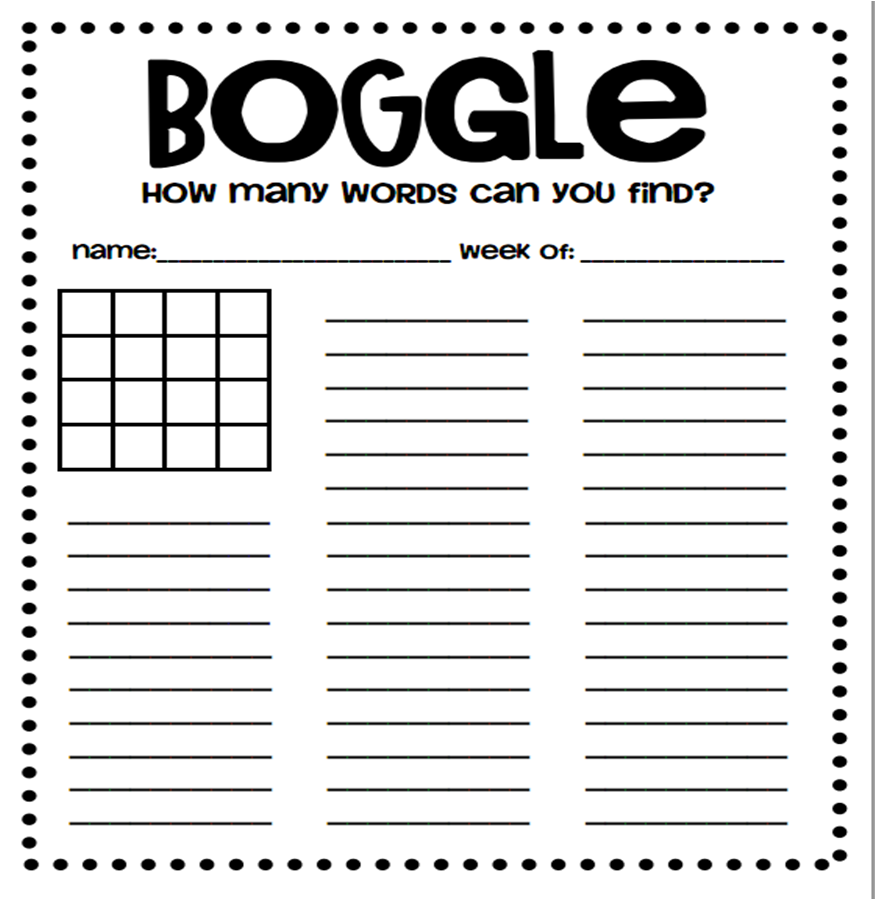 A Crucial Week: Free downloads: Boggle board and target board