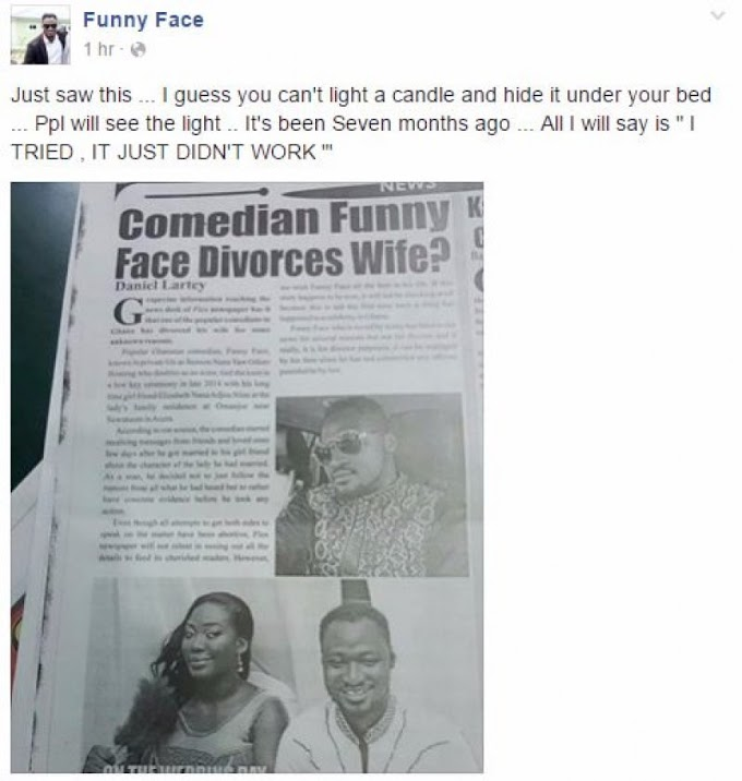 Funny face divorces wife after 2 years