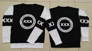 Jual Online Sweater Triple X Black White Couple Murah Jakarta Bahan Babytery Terbaru