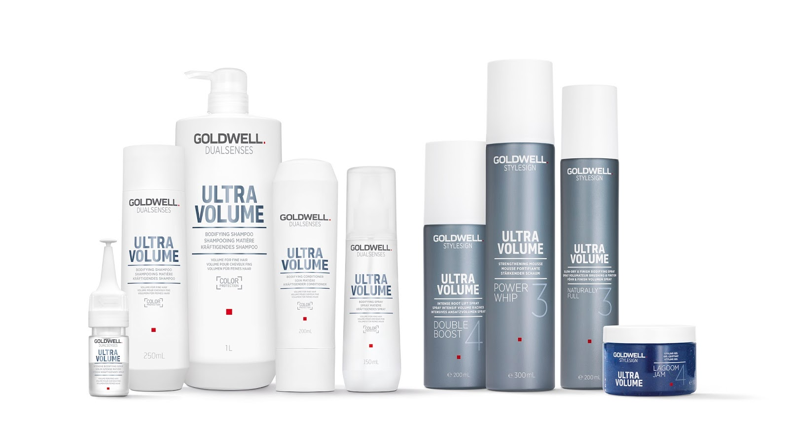 goldwell dualsenses and stylesign on packaging of the world