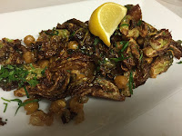 Jersey City vegetarian fried Brussels sprouts and chickpeas