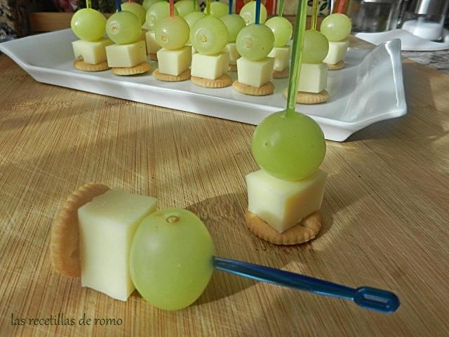 Aperitivo de uvas y queso