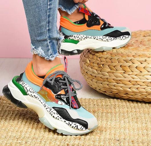 Sneakers dama moderni cu talpa groasa Multicolor la reducere