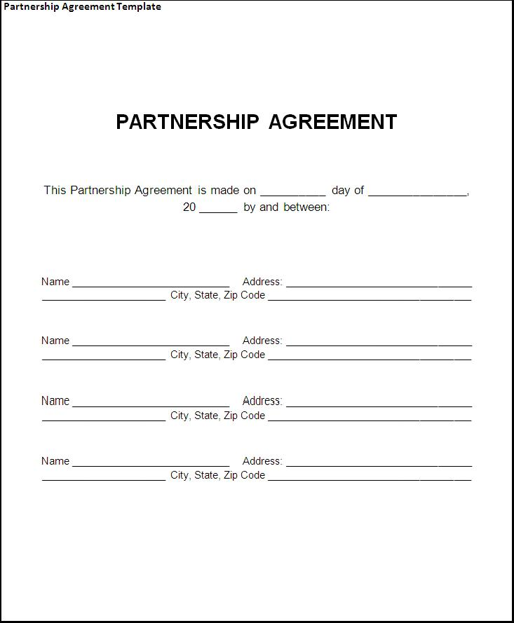 Partnership agreement template forms word format excel template partnership agreement template for small business flashek Image collections