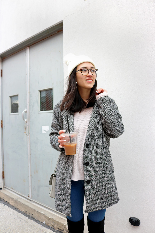 Gray Coat Blush Pink Sweater Beanie