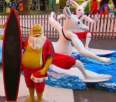 Christmas Surfers Paradise 2013 With Santa Surf Board and Surfing Kangaroos
