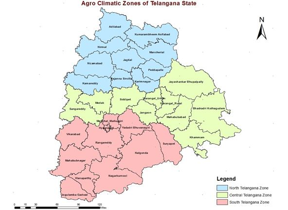 Map Describing Agroclimatic Zones of Telangana; Blue color marks Northern Telangana Zone, Yellow color defines Central Telangana Zone, Pink defines Southern Telangana Zone