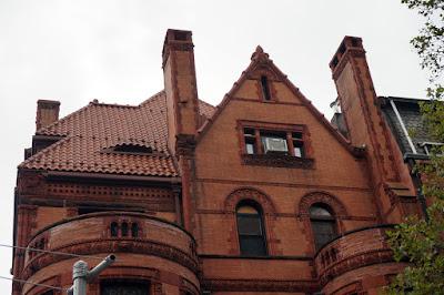 Upper portion of mansion facade