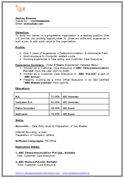 Resume Format For MA Experience 1