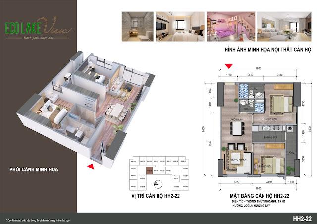 Thiết kế căn hộ C1A - 22 tòa HH2 chung cư Eco Lake View
