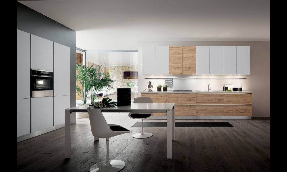 Cuisine moderne sans poign es blanche et bois for Cuisine en l blanche
