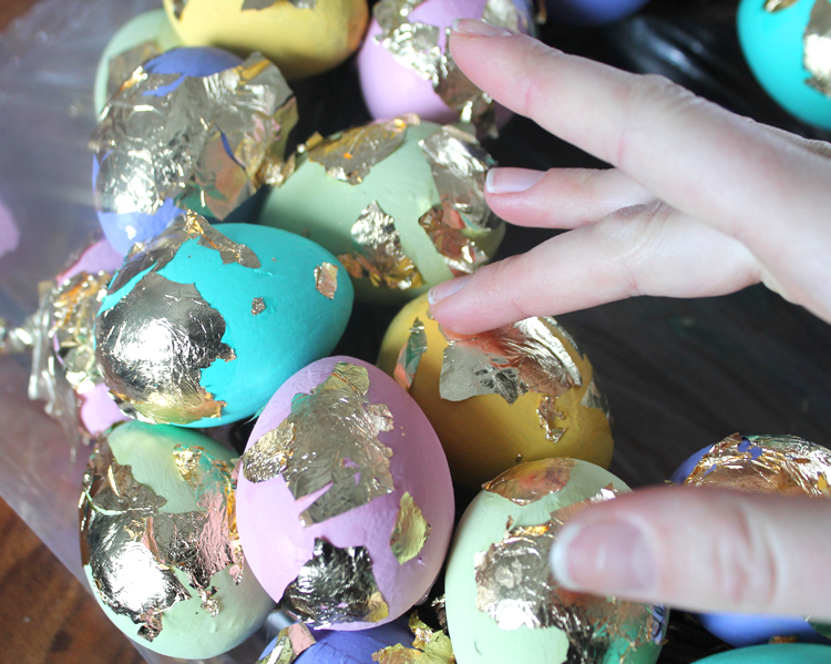 How to apply gold leaf sheets to eggs